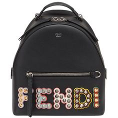 Fendi Embellished Logo Backpack ($2,200) ❤ liked on Polyvore featuring bags, backpacks, bags /, kirna zabete, studded bag, logo bags, fendi backpack, backpack bags and daypack bag