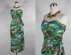 1950's Hawaiian Sarong Wiggle Dress Vintage by vintagebluemoon