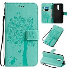 Embossing Butterfly Tree Leather Wallet Case for Mi Xiaomi Redmi 8 - Cyan - Xiaomi Redmi 8 Cases - Guuds Galaxy S4 Mini, Galaxy Note 3, Nokia 1, Butterfly Tree, Htc One M9, S5 Mini, P8 Lite, A30, Iphone 8 Plus