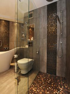 Too dark but a nice way of accenting a neutral bathroom with a sharper colour (shimmering teal?)