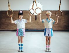 Girly touches to sporty tops and shorts for Fäfä kidswear for summer 2015