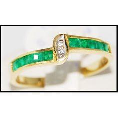 18K Yellow Gold Jewelry Gemstone Emerald Diamond Ring [R0049]