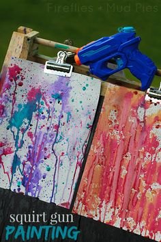 Kids will LOVE you -Squirt gun painting is such an awesome summer art activitiy! – Fireflies and Mud Pies Kids will LOVE you -Squirt gun painting is such an awesome summer art activitiy! – Fireflies and Mud Pies Summer Crafts, Summer Art, Summer Kids, Summer 2015, Craft Activities For Kids, Projects For Kids, Indoor Activities, Summer Fun Activities, Diy Summer Projects