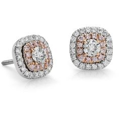 Blue Nile Double Halo Pink Diamond Earrings (£2,290) ❤ liked on Polyvore featuring jewelry, earrings, aros, earrings 2, orecchini, rose jewellery, blue nile jewelry, diamond jewelry, rose stud earrings and stud earrings