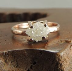 Rough Diamond 14k Rose Gold Ring Handmade Engagement Ring, Uncut Diamond Ring Conflict Free Diamond, Raw Diamond