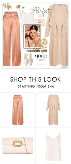 """Monochrome Mood"" by mcheffer ❤ liked on Polyvore featuring Edun, Boohoo, Roger Vivier, L'Agence, monochrome, mules, satin, DusterCoat and dusterjacket"