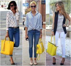 A bolsa amarela mais linda que o sol, com calça skinny, camisas e listras.