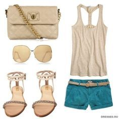 Teal Shorts Outfit