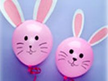 Ballon bunnies. Decorations or fill with treats and pop. Also going to try with plastic egg instead of ballon.
