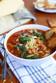Bok Choy, Chickpea, Tomato Stew with Homemade Tortilla Chips and Gouda | The Kitchen Paper