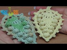 ▶ Crochet Leaf With Popcorn Stitches Around How to Tutorial 17 - YouTube