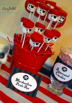 You won't mind riding the high seas to make it to this Pirate's swashbucklingly delightful dessert table! Christy, of Itsy Belle, designed this party for her son~Captain Jackson!  Adorable in every way, this party is full of great ideas and great party stationery designs.  Feast your eyes on these little pirates...
