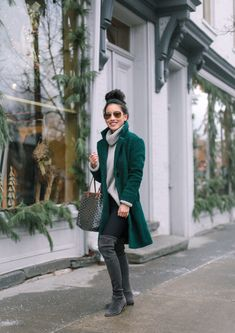 stylish winter outfit // stuart weitzman lowland OTK boots for petite + shorter women Stylish Winter Outfits, Fall Winter Outfits, Winter Style, Stuart Weitzman, Outfits Leggins, Green Wool Coat, Ladies Black Wool Coat, Green Winter Coat, Pijamas Women