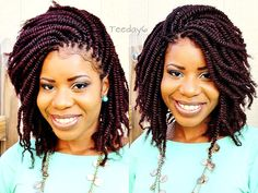 Nice kinky twist hairstyle from Crochet Braids?Don't Tell Nobody Else ; Crochet Braids Marley Hair, Crochet Braid Styles, Crochet Braids Hairstyles, African Hairstyles, Bob Hairstyles, Braided Hairstyles, Black Hairstyles, Crochet Style, Dreadlock Hairstyles