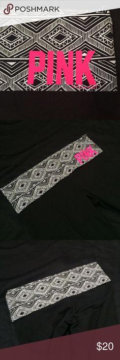 "❤️Tribal band yoga pants NWOT! Black and white tribal print band. Hot pink PINK logo. 33"" inseam bootcut PINK Victoria's Secret Pants"