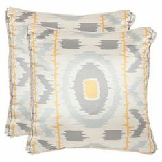 """Highlighted by an alluring geometric motif, this lovely pillow adds a touch of bohemian flair to your sofa or bed.   Product: Set of 2 pillowsConstruction Material: 100% Polyester cover and feather-down fillColor: Gold and greyFeatures: Inserts includedDimensions: 18"""" x 18"""" Cleaning and Care: Dry clean"""