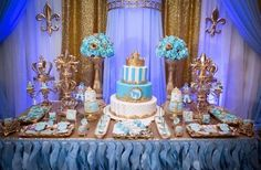 Gold and blue Royal baby shower | CatchMyParty.com                                                                                                                                                     More