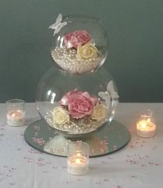 Gorgeous Centrepiece - will be having something similar, just one tier & no butterflies
