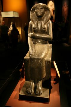 Queen Nofret, sculpted in granodiorite, now lacking her original crystal and obsidian eyes. She was the consort of 12th Dynasty Pharaoh Senusret II (also known as Senwosret II or Sesostris II; 1899 – 1878 BC).