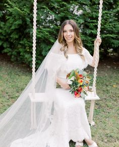 Exactly the bride, dress and bouquet we had envisioned when incorporating this bohemian swing. 😍 // Photo by @liveviewstudios Flowers by @bridesandbouquetsnc / Venue @mimshouse Nc Wedding Venue, Mad, Bouquet, Bohemian, Weddings, Bride, Flowers, Dresses, Wedding Bride