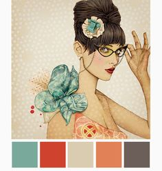 color mood board: Ëlodie — mootsa design, llc, turquoise, red, peach. I am constantly checking in with Paris based illustrator, Ëlodie's site & blog for her most recent work. She has been a fresh souce of inspiration for me. Her gorgeous hand drawn & digially enriched illustarations exude all that is lovely about Paris art and fashion. Her new crop of illustrations have inspired me to create some color mood boards. Wouldn't these be fantastic wedding pallets or personal stationary?