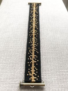 Black and Gold Miyuki Bracelet / Beaded Bracelet / Miyuki Beads / Miyuki Bead Bracelet / Miyuki Delica / Slide Ending - Bracelets Bead Loom Bracelets, Beaded Bracelet Patterns, Bead Loom Patterns, Diamond Bracelets, Silver Bracelets, Jewelry Bracelets, Bangles, Handmade Beads, Handmade Bracelets