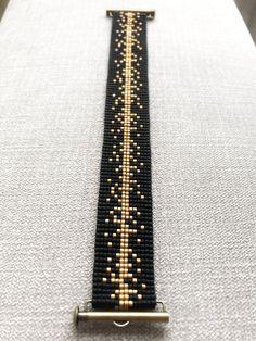 Black and Gold Miyuki Bracelet / Beaded Bracelet / Miyuki Beads / Miyuki Bead Bracelet / Miyuki Delica / Slide Ending - Bracelets Bead Loom Designs, Bead Loom Patterns, Bead Loom Bracelets, Beaded Bracelet Patterns, Diamond Bracelets, Silver Bracelets, Jewelry Bracelets, Bangles, Bead Weaving