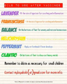 Essential oils to use after vaccines
