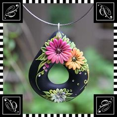 Pendant  Fresh flowers in Black by Veronica by busyhandsveronica