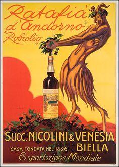 #Ratafià Andorno, #Biella poster manifesto #vintage #original www.posterimage.it