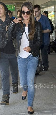 Lea Michele Style and Fashion - Anine Bing Biker Leather Jacket on Celebrity Style Guide