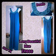 Selling this BLUE LONG DRESS in my Poshmark closet! My username is: kfrye71. #shopmycloset #poshmark #fashion #shopping #style #forsale #NO NAME ON IT #Dresses & Skirts