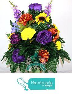 Beautiful XL Fall Mix Cemetery Arrangement for 3 inch Standard Marker Vase from Crazyboutdeco Deco Mesh Wreaths and Cemetery Arrangements https://www.amazon.com/dp/B01M093LFM/ref=hnd_sw_r_pi_dp_ketcyb6KKA3MC #handmadeatamazon