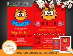 Chinese New Year Tiger Invitation Font Editable Template Instant Download Digital File Birthday Baby Shower Party by clipartsuperstore on Etsy Shower Party, Baby Shower Parties, Invitation Fonts, Party Items, Chinese New Year, Rsvp, Announcement, Templates, Digital