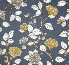 """Slate Blue Floral Decorative Designer Pillow Cover 18"""" Accent chinoiserie ivory brown cottage dwell indigo light blue navy peony gold yellow"""
