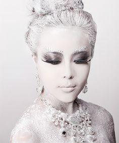 Modern fairytale/karen cox. Fairy tale fashion fantasy in white. Snow / Ice Queen.