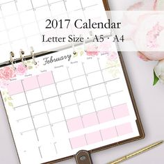 2017 Monthly Calendar Printable Enjoy the new year with this originally designed 2017 Calendar Printable. Use as a wall calendar, desk calendar or use this calendar as a monthly planner in your Filofax! This 2017 printable calendar comes in 3 sizes - Letter Size, A5 and A4. You will receive all 36 pages to play around with the different sizes and match to the different binder sizes you have!  https://www.etsy.com/listing/499029969/2017-monthly-calendar-printable-wall