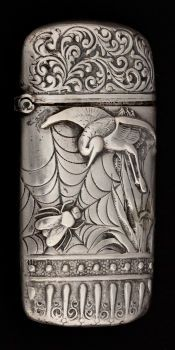 AMERICAN SILVER MATCH SAFE .   circa 1880. Bird and insect