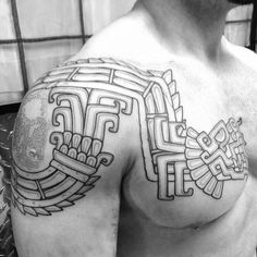Best Aztec Tattoo Designs - [Ideas & Meanings in Mayan Tattoos, Mexican Art Tattoos, God Tattoos, Body Art Tattoos, Dessin Aztec, Quetzalcoatl Tattoo, Aztec Tattoo Designs, Aztec Tribal Tattoos, Ma Tattoo