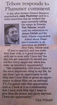 You go Tim Tebow! you love God if you want to! haters gonna hate... lovers gonna love... trifflers gonna trif.
