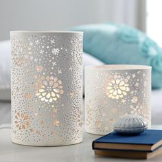 Lanterns- Wonder if I could make these modpodging doilies or lace to glass cylinders?