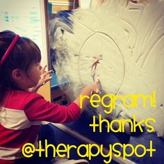 Thanks @therapyspot for permission to regram!  Fun with shaving cream in OT. And she has no clue she's working!  - Like our instagram posts?  Please follow us there at instagram.com/pediastaff    - - click on pin for more!