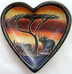 "Hand Crafted Kisii Heart Stone Bowl 6"" (15cm) - African Dream"