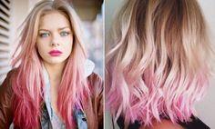 cabelo loiro gradiente de rosa
