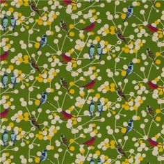 green echino birds and berries canvas fabric cherry 2