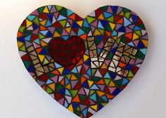 Ruby Red Heart LOVE Mosaic by Heart2HeartMosaics on Etsy   | Heart Mosaic | Mosaic Heart | #heartmosaic #heart2heart heart mosaics,