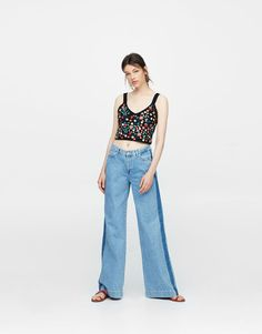 d654d851ac055 Pull Bear - woman - new - crop top with floral embroidery - black -  09557302-