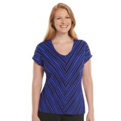 Dana Buchman Mitered-Stripe Textured Top - Women's