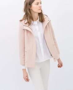 Image 5 of SHORT WOOL JACKET WITH HOOD from Zara