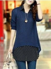 Delightful 5 Color Round Neck Two   Blouse